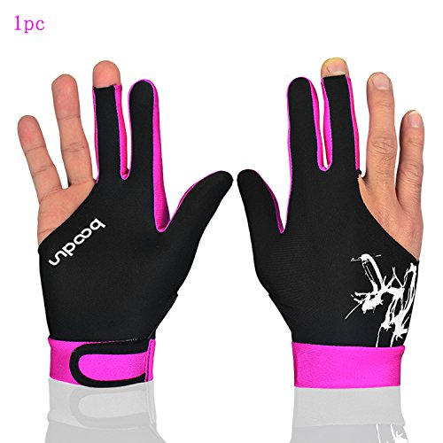 MIFULGOO Man Woman Elastic 3 Fingers Gloves for Billiard Shooters Carom Pool Snooker Cue Sport - Wear on The Right or Left Hand (Black Red Pink, M)