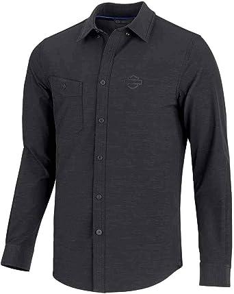 Harley-Davidson - Camisa elástica para hombre, diseño de doble tejido, color negro