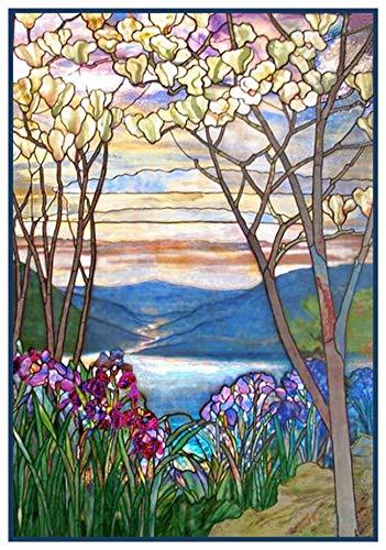 Tiffany Magnolia Trees Iris Flowers Counted Cross Stitch ()