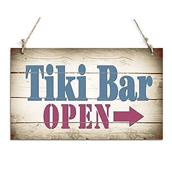 Amazon.com: Frontal Cartel para puerta Tiki Bar Abierto ...