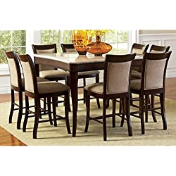 Greyson Living Madaleine Counter-Height Marble Veneer Dining Set 7 Piece 7-Piece Sets