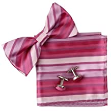 BT2068 Pink Stripes Silk Pre-tied Bowtie Cufflinks Hanky Shandmade Contemporary Classic Rack Gifts Items By Epoint
