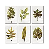 green living room ideas  Wall Art for Living Room Framed Canvas Paintings Vintage Picture of Green Leaves Spring Time (8x12inchx6p)