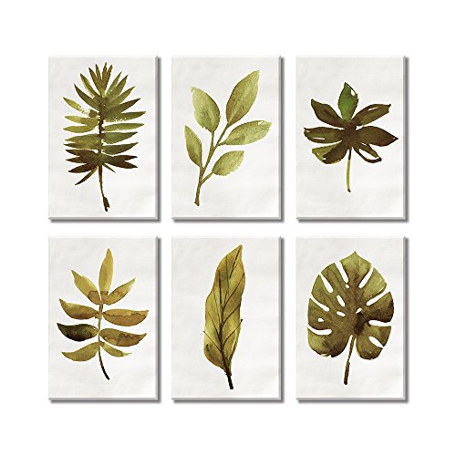SUMGAR Canvas Wall Art Prints Set Paintings for Bedroom Vintage Picture of Green Leaves Spring Time 8x12inchx6p