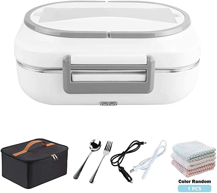 IXI Electric Lunch Box -#Christmas Gifts# Portable Food Warmer Heater 2 in 1 Heating Lunch Box for Car Office 12V and 110V Dual Use with 304 Stainless Steel Container, Insulated Lunch Bag