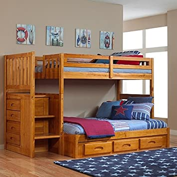Discovery World Furniture – Honey Mission Staircase Bunk Bed Twin Full with 3-Drawer Storage