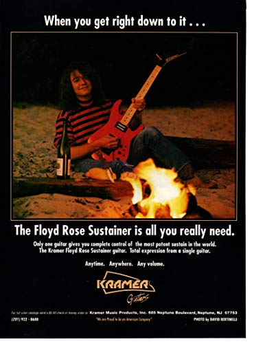 """Magazine Print ad 1990 Floyd Rose Sustainer Kramer Guitars,""""When you get down to it.the Floyd Rose Sustainer is all you really need"""""""