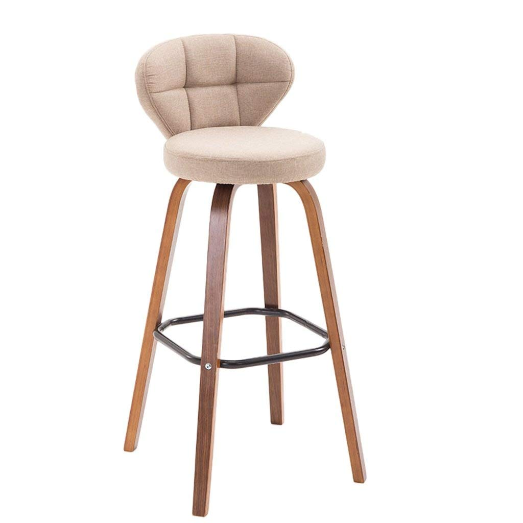 B Bar Stool High Stool Home Creative Personality European American Solid Wood Back High Stool Chair Modern Minimalist FENPING (color   C)