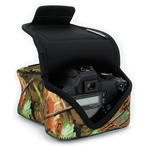 USA GEAR DSLR Camera Case/SLR Camera Sleeve (Camo Woods) w/Neoprene Protection, Holster Belt Loop and Accessory Storage - Compatible with Nikon D3400 / Canon EOS Rebel SL2 / Pentax K-70 & More