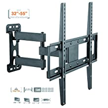 DURAMEX TV Wall Mount, Corner Mount Bracket for most 32-55 Inch LED, LCD, OLED Flat Screen TV with Full Motion Articulating Arm up to VESA 400x400mm and 77 LBS with Tilt, Swivel, and Level Adjustment