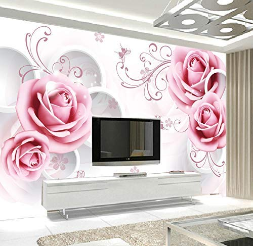 Murwall Floral Wallpaper Pink Rose Wall Mural Geometric Circle Wall Print British Home Decor Cafe Design Living Room Entryway