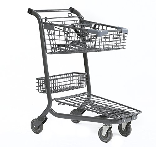Advance Carts 65xc-Granite-3pack XPress Series Shopping Cart, 65 L with Child Seat and Lower Tray, Granite Powder Coat (Pack of 3) by Advance Carts