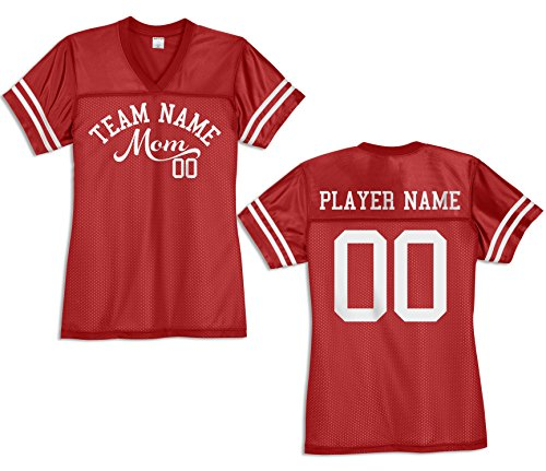 - KAMAL OHAVA Custom Women's Football Mom Replica Football Jersey, True Red, 4XL Plus