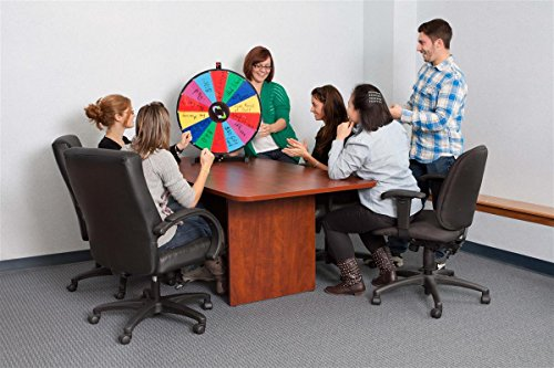 Promotional Prize Wheel with 24'' Write-on Surface for Wet or Dry-Erase Markers, 14 Prize Slots, Black Wooden Base for Tabletop Use, Carrying Bag Included by Displays2go (Image #1)