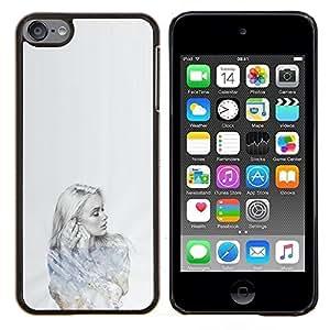 Planetar® ( Señora Girl Retrato a lápiz de Deep Sad ) Apple iPod Touch 6 6th Touch6 Fundas Cover Cubre Hard Case Cover