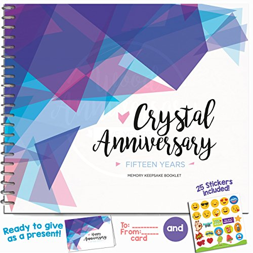 Fiftieth Wedding Anniversary Gifts For Couples – Fifteen Years Memory Journal for Husband or Wife - Crystal Anniversary Booklet with love quotes and frames to add your pictures for him or her (Keepsake Photo Crystal)