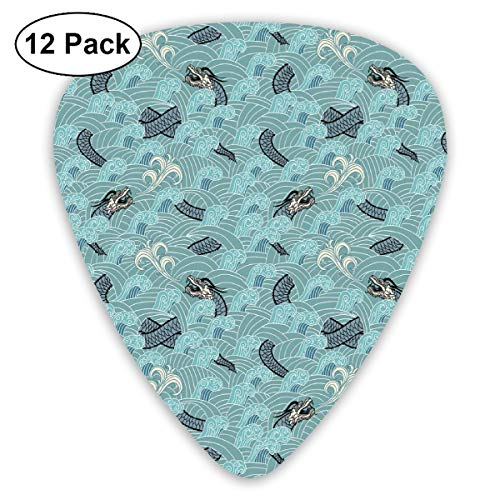 Guitar Picks - Abstract Art Colorful Designs,Asian Style Pattern With Dragon Figures And Sea Waves Mythology Monster,Unique Guitar Gift,For Bass Electric & Acoustic Guitars-12 Pack