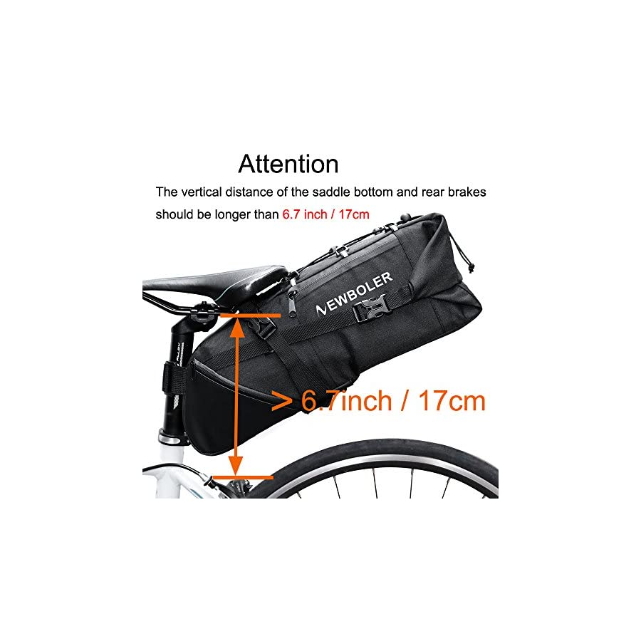 NEWBOLER Strap On Bike Saddle Bag / Bicycle Seat Pack Bag, Cycling Wedge 3 10L Expandable