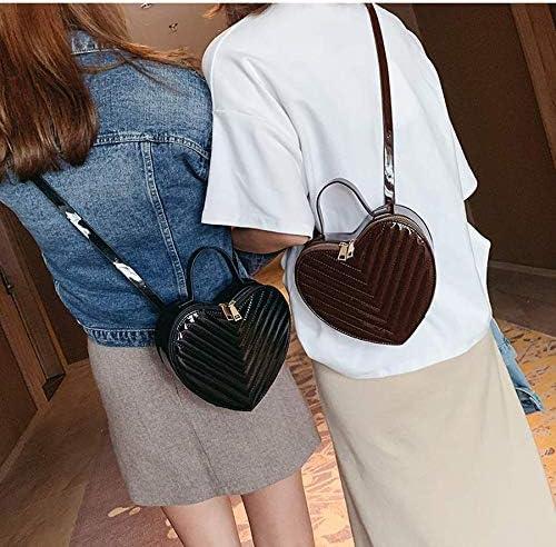 HKDUC Fashion Heart Shape Leather Striped Female Shoulder Bag for Women Handbag Purse Ladies Crossbody Messenger Bag