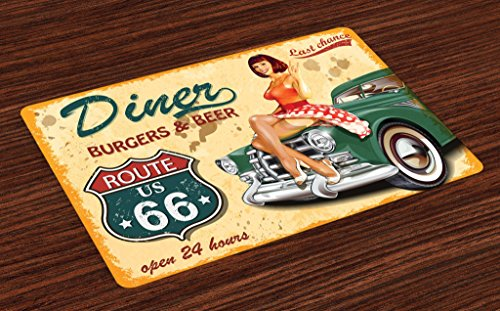 Lunarable Route 66 Place Mats Set of 4, Diner Burgers Beer Cafe Sign with A Waitress on A Car Freeway Retro Illustration, Washable Fabric Placemats for Dining Room Kitchen Table Decor, Multicolor
