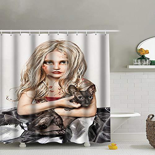 best bags Portrait Blonde Girl Black Cat Beauty Fashion Skull People Shower Curtain Set, Relaxing Summer Landscape Bathroom Decor,Shower Curtain Set Waterproof 60X72 Inch]()