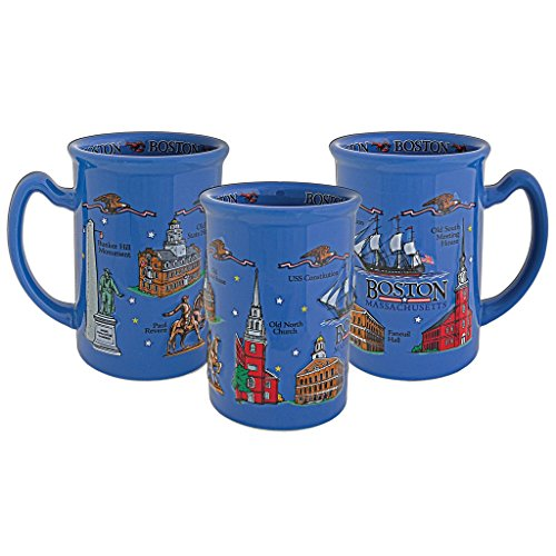Boston Massachusetts City Souvenir Blue Raised Coffee (Boston Mug)