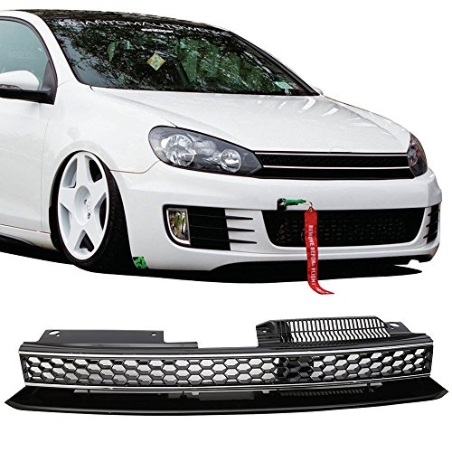 Grille Fits 2010-2014 VW Golf 6 MK6 | GTI Style ABS Plastic Black W & Chrome Trim Front Bumper Grill Hood Mesh by IKON MOTORSPORTS | 2011 2012 2013