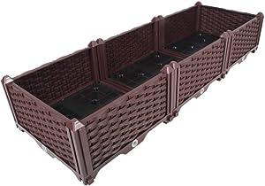 BAOYOUNI Rectangular Raised Garden Bed Kit Indoor Outdoor Plastic Planter Grow Box for Fresh Vegetables, Herbs, Flowers & Succulents, Brown, 46.06'' x 15.35'' x 8.66''