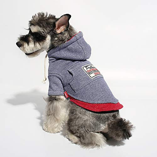 Gyapet Pet Sweater Hoodie for Small Dogs Pet Clothing Puppies Doggie T-Shirt Winter Warm Cotton Cloth for Puppy Blue XL