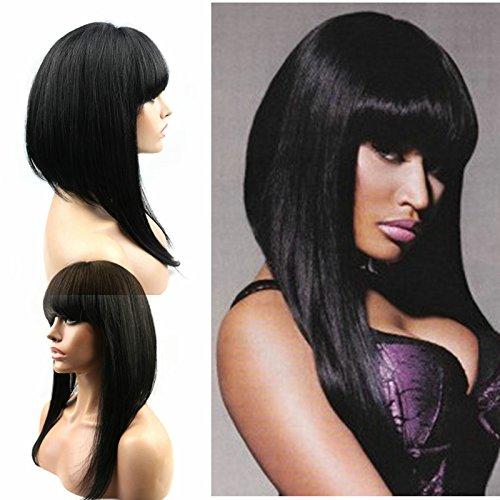WOB Hair 150 Density Lace Front Wig Nicki Minaj Bob Wigs with Bangs Human Hair 14inch Natural Color
