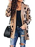Msikiver Womens Leopard Print Cardigan Sweaters Lapel Open Front Long Sleeve Loose Comfy Outwear with Pockets