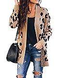 Chang Yun Womens Leopard Cardigan Sweaters Open Front Knit Kimono Long Sleeve Boyfriend Casual Coat Outwear with Pockets