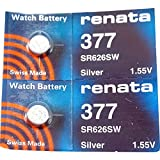 Renata Watch Battery 377 (Sr626Sw),  2 Batteries