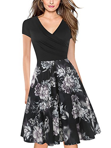 oxiuly Women's V-Neck Cap Sleeve Floral Casual Work Stretch Swing Dress OX233 (2XL, Black FP)