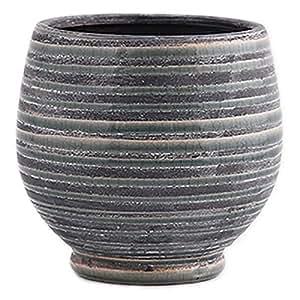 Little Green House Round Ceramic Vase, Grey