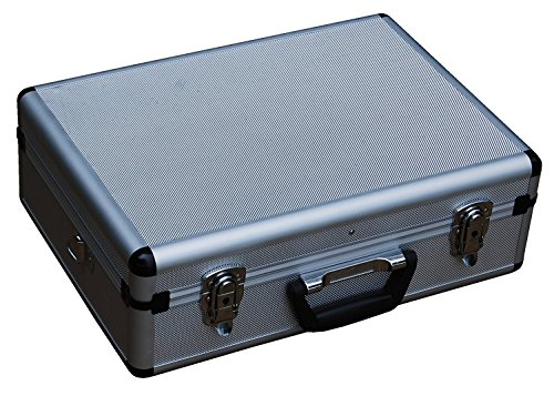 "Edward Tools Aluminum Carrying Case 18"" – Heavy duty aluminum – Weather and dent resistant – Extra security double key lock – Padded dividers and 17 pocket tool holder – Multi use metal box"