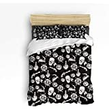 Pink Sky Queen Size Kids Duvet Cover Set Cute Bedding Set for Little Girls Boys,Horror Pirate's Skull Pattern Black and White Bed Sets,4 Piece Include 1 Flat Sheet 1 Duvet Cover and 2 Pillow Cases