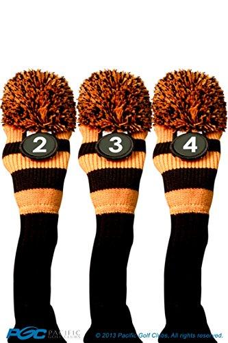 うん代数達成可能Majek # 2、3、4ハイブリッドコンボパックRescueユーティリティブラック&オレンジゴルフヘッドカバーニットポンポン付きレトロクラシックヴィンテージヘッドカバー
