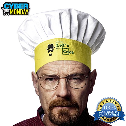 Chef Hat Kitchen Adult Cap - Adjustable for Men, Women, Kids, Grill, Cooking, Baking, BBQ, Outdoor / 100% (Walter White Outfit)