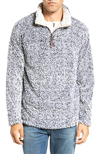 Frosty Pebbles (Mens Frosty Tipped 1/4 Zip Pile Pullover Jacket Solid Silky Pile Vintage Pebble Pile Pullover Hoodie Hooded Sweatshirt (Heather, Large))