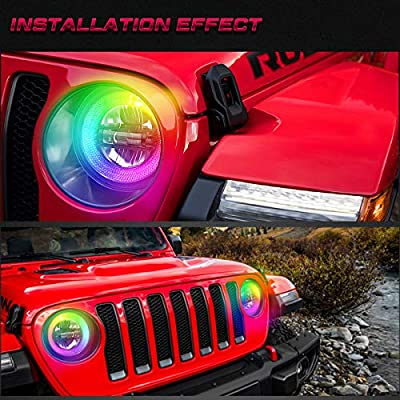 9 Inch RGB Halo Led Round Headlights, Bluetooth controlled, Built-in EMC, High/Low Beam DRL and 121 RGB Function for Jeep Wrangler JL Sport Rubicon Sahara 2020-2020, DOT Approved, 2 PCS…: Automotive