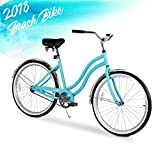 ENSTVER Urban Lady Beach Cruiser Bicycle (Teal Blue w/Black Seat/Grips, 26″ / 1-Speed) For Sale