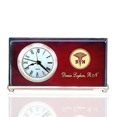 Personalized Piano Finished Wood Wedge Alarm Clocks for Nurses
