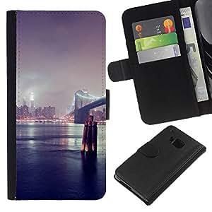 KLONGSHOP // Tirón de la caja Cartera de cuero con ranuras para tarjetas - Puente de Nueva York - HTC One M9 //