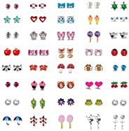 Aganippe 20/24 /30 Pairs Hypoallergenic Stud Earring Set for Women Girls Unicorn Heart Mermaid Scales Rainbow