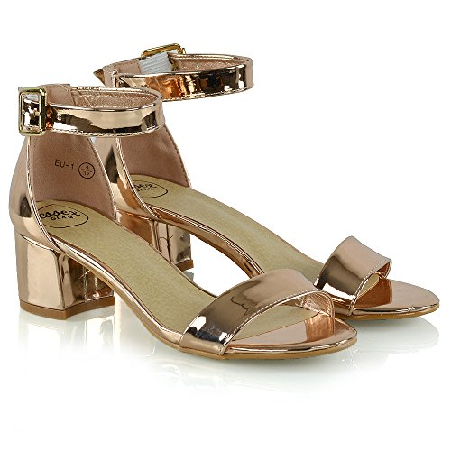 Essex Glam Womens Low Heel Strappy Synthetic Sandals Rose Gold Metallic TKO7e