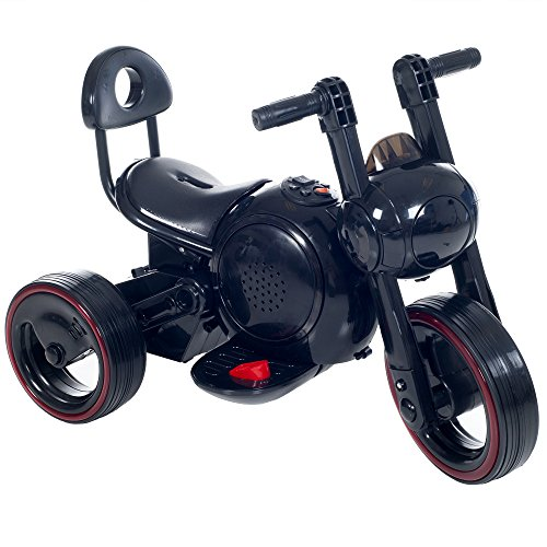 3 Wheel LED Mini Motorcycle Trike, Ride on Toy for Kids by Rockin ' Rollers – Battery Powered Toys for Boys and Girls, Toddler - 4 Year Old, Black