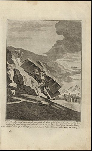 Samson Carrying City Gates of Hebron c.1750 antique copper engraved Bible print