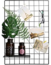CA Painted Wire Wall Grid Panel, Multifunction Photo Hanging Display and Wall Storage Organizer, Pack of 2, Size 25.6x17.7inch, Black