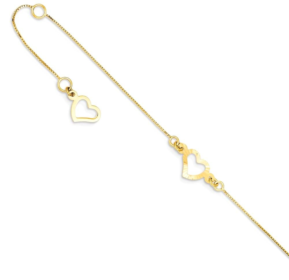 ICE CARATS 14k Yellow Gold Adjustable Chain Plus Size Extender Heart Anklet Ankle Beach Bracelet Fine Jewelry Gift Set For Women Heart